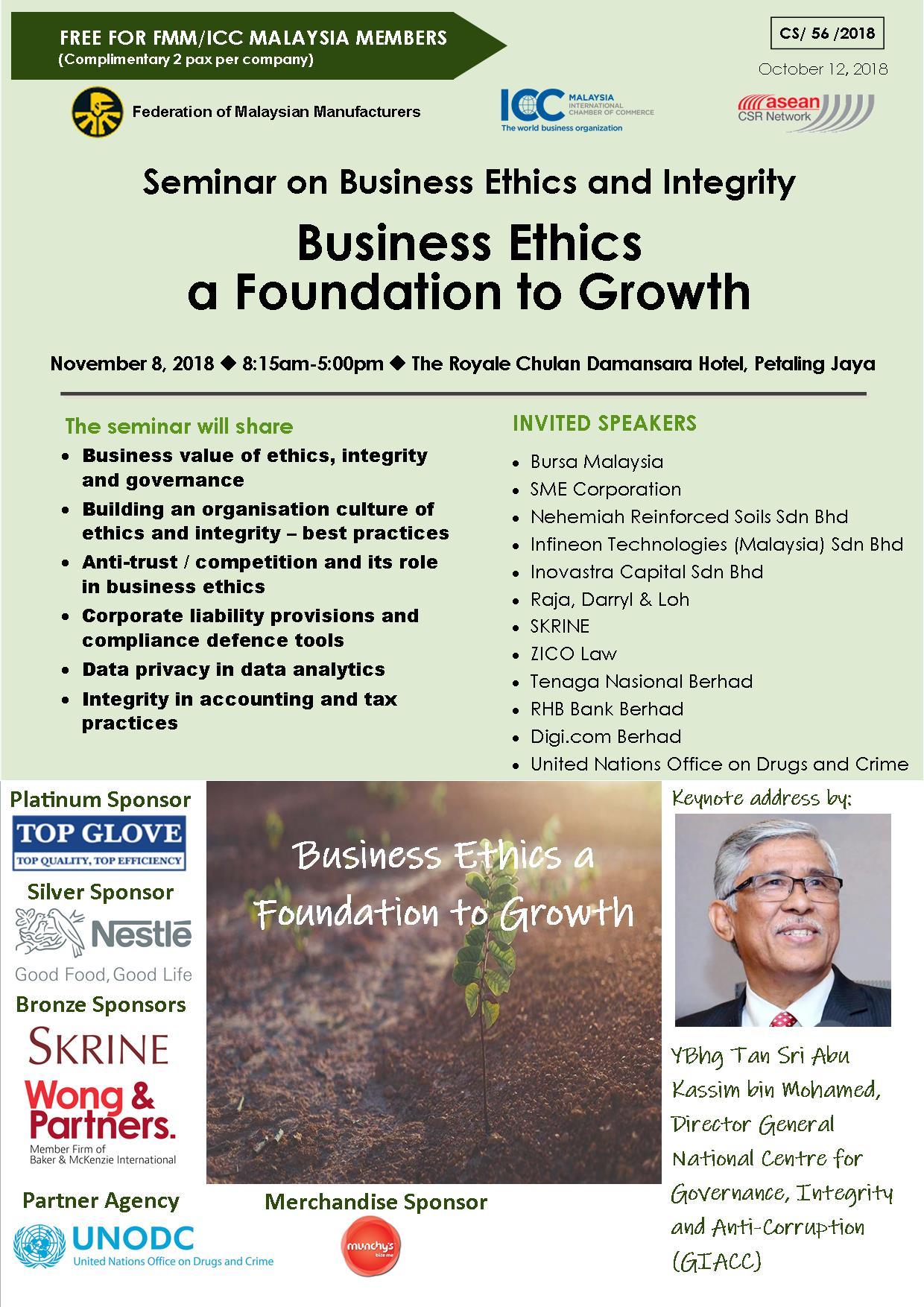 Asean CSR - Seminar on Business Ethics and Integrity, 8 Nov